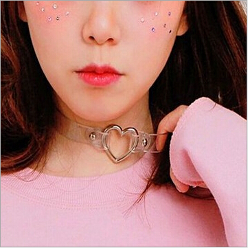 CM697 Fashion punk Jewelry sweet heart Necklace Clear Transparent PU Leather Choker Punk Goth 100 Handmade