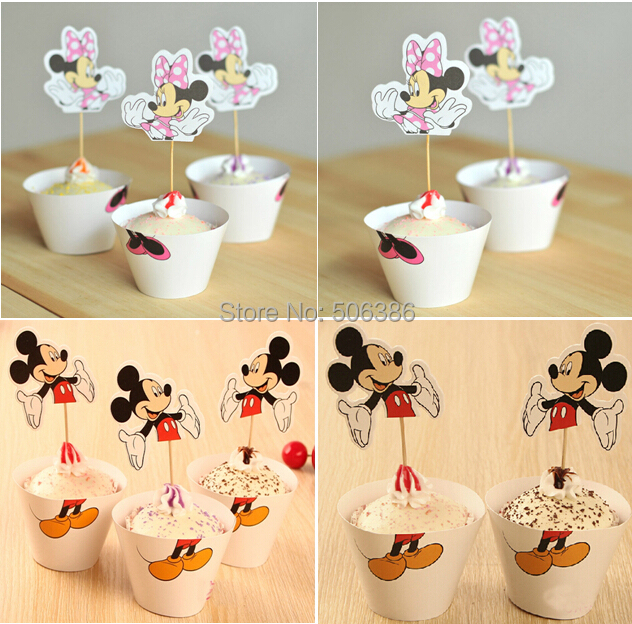 24pcs/set Minnie & Mickey mix CupCake Toppers Picks,Cartoon Event Party Decoration,Kids Birthday party Cupcake Wrappers Favors - Phoebe store
