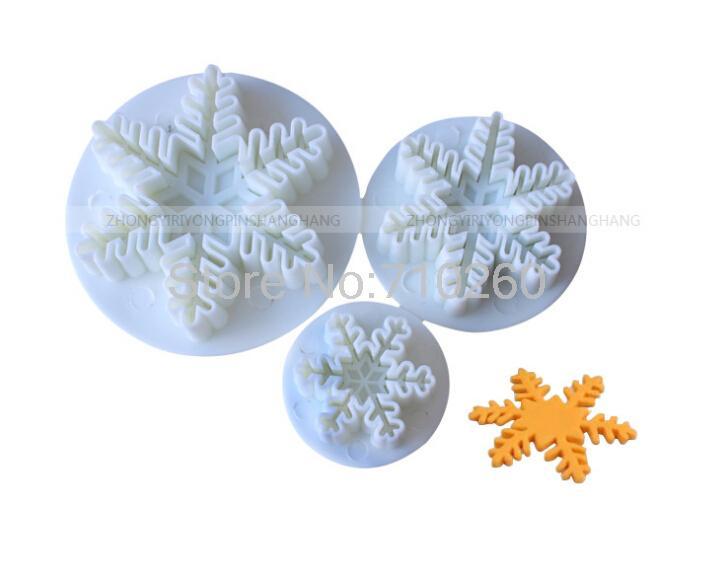 Гаджет  Free shipping 3pcs/set  Snowflake Plunger Cutter Mold Sugarcraft Fondant Cake Decorating DIY Tool None Дом и Сад