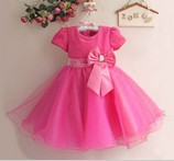 2015 Hot 3-10yrs Rose flowers fashion cute girls dress Red princess tulle dresses children tutu for girls free shipping(China (Mainland))