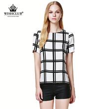WISHCLUB 2015 Women Summer Fashion European Style Chiffon plaid blouse black/white grid printed shirts free shipping