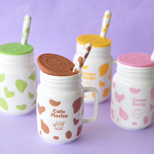 Fun Life Spotted cow cup with lid and spoon ceramic cup milk cup retro personality Mark Cup Cafe mocha C01077(China (Mainland))