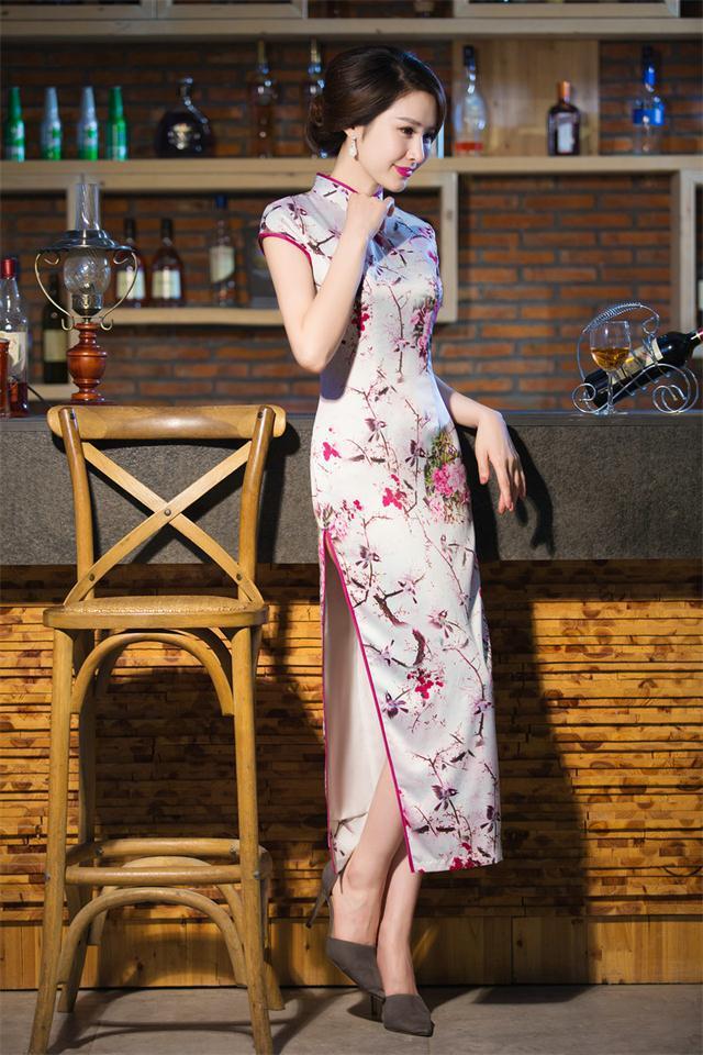 Vintage Elegant Chinese Tradition Womens Silk Hand Coil Clasper Printing Long Cheong-sam Evening Dress S M L XL XXLОдежда и ак�е��уары<br><br><br>Aliexpress