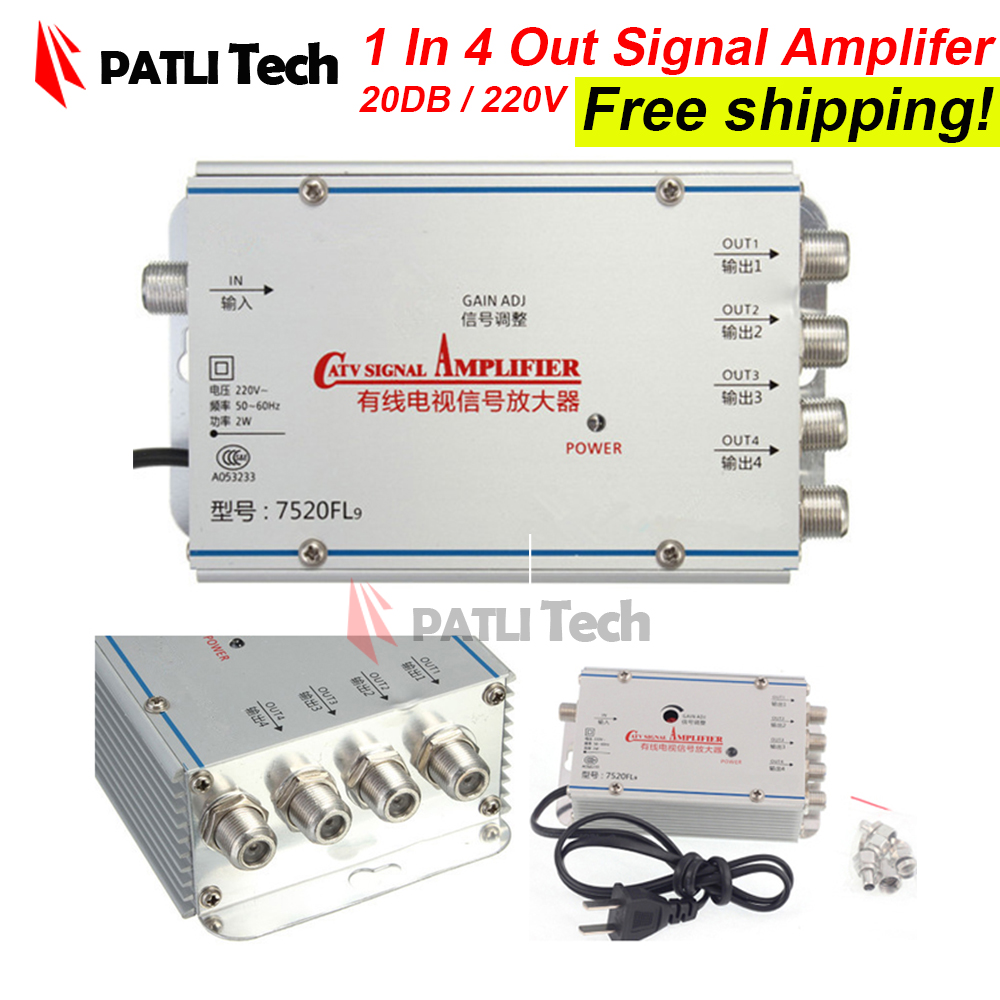 Signal amplifier for cable tv in 1 out 4 Way, CATV Cable TV amplificador, 200V, US / EU / AU / UK adapter, Broadcast Equipment(China (Mainland))