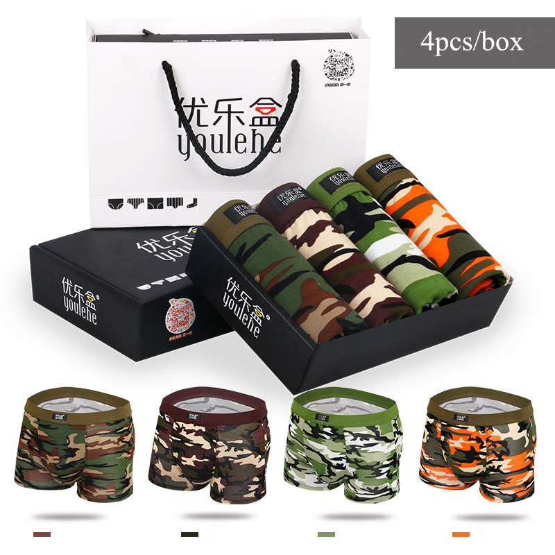 2016 Cheap Camo Mens Boxer Shorts Camouflage Breathable underpant Mens Bamboo Underwears Trunk Sexy Penis Pouch Panties 4pcs/set(China (Mainland))