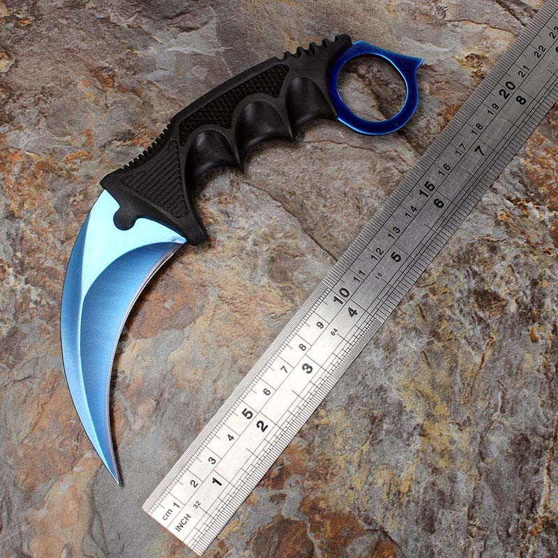 CS GO Counter Strike Blue Neck Knife Karambit Knife Camping hunting survival knife with Sheath Tiger Fade Tooth Real game Knife(China (Mainland))