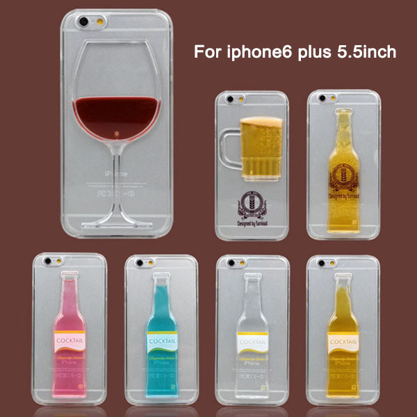 """Clear PC Plastic Protective Shell For iphone 6 Plus 5.5"""" Case Creative Beer Cup Bottle Wine Glass Cocktail Back Cover Free Ship(China (Mainland))"""