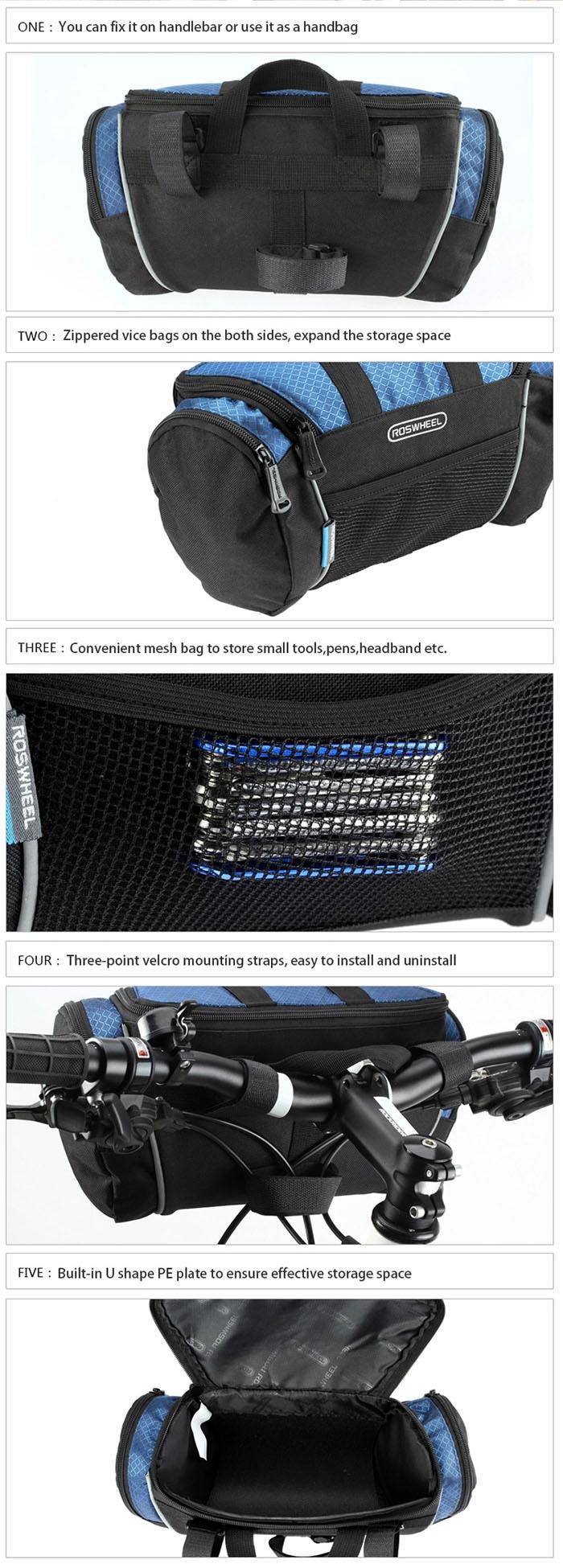Roswheel 5L Bike Handlebar Bag Bicycle Front Tube Pocket Shoulder Pack Riding Cycling Supplies