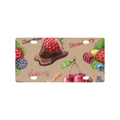 "Nice Personalized Sweet Strawberry Cream Cake Metal Car Plate Cover 12""(w) x 16""(h) Free Shipping(China (Mainland))"