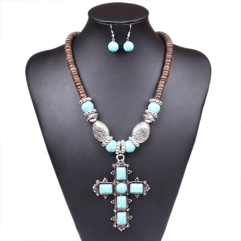 Charming Women Cross Shape Turquoise Stone Tibet Silver Tone Necklace & Earrings Jewelry Set GCK - ShangHai Aokeshen co., LTD store