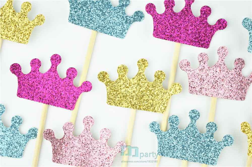 crown cupcake toppers, glitter crowns, princess party decorations, prince birthday, pink and gold, custom colors, baby shower(China (Mainland))