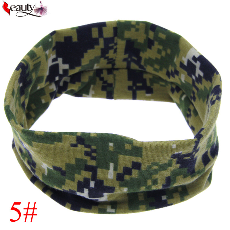 2016 Cute Infant Newborn Baby Kids Girls Headband Camo Top Turban Knot Head Wrap Bow Hair Band Outdoor Sports Hair Accessories(China (Mainland))