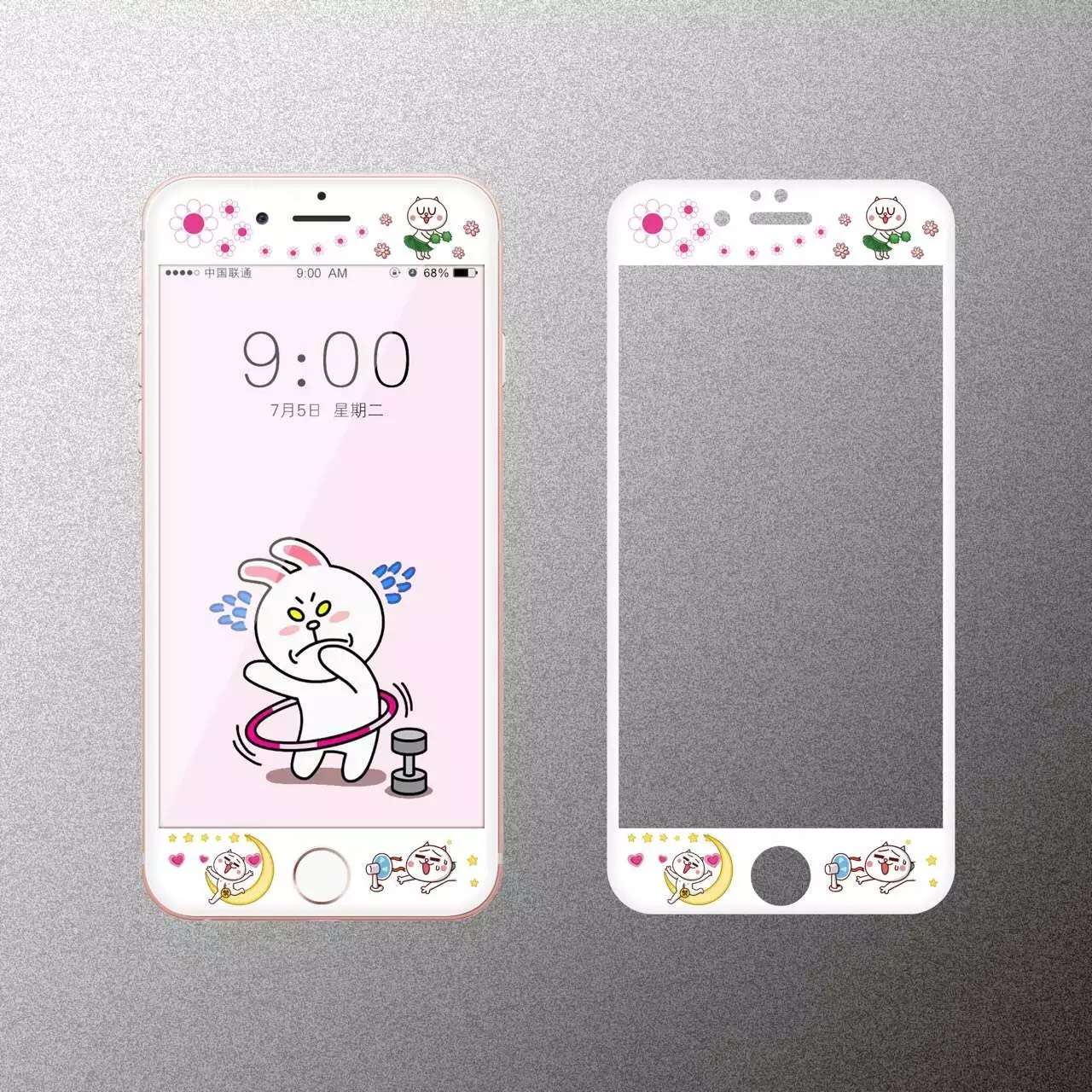 Cartoon cute rabbit Tempered Glass film Protective for iPhone 6 case 6S Front Films Cover font