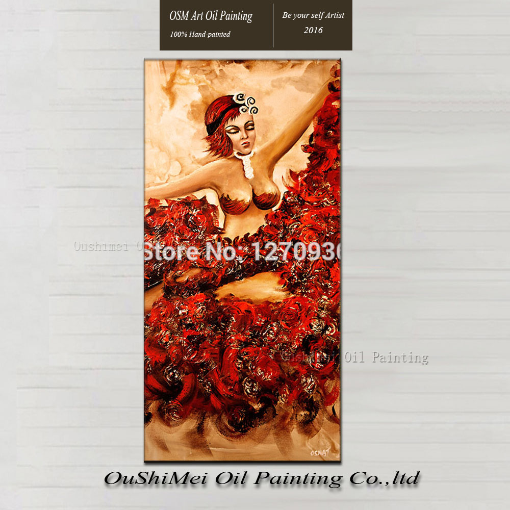 Europe sexy women wearing short hair crimson flower skirt dancing pure hand-painted oil painting on canvas(China (Mainland))