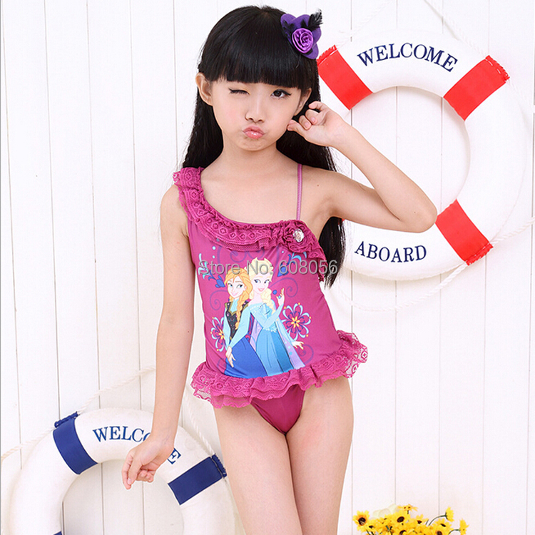 2014 Halloween Frozen Elsa Bikini Swimwear Candy Color One-piece Bathing Suit Girl Child Swimsuit Christmas - 3C&Furniture Supplier store