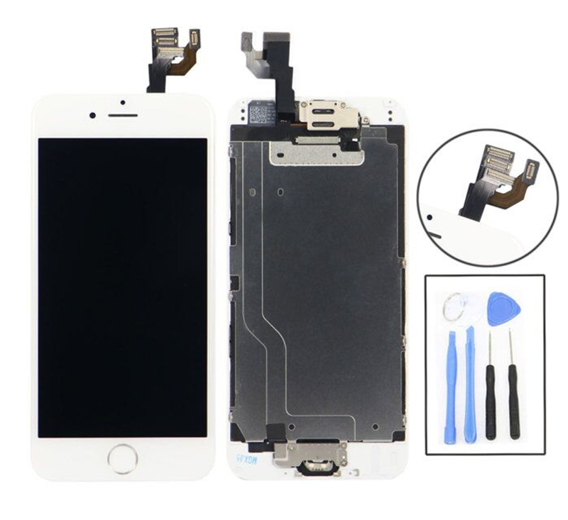 White Full Set For Iphone 6 4.7 inch LCD Display Touch Screen digitizer Home Button Front Camera Assembly With Small Parts(China (Mainland))
