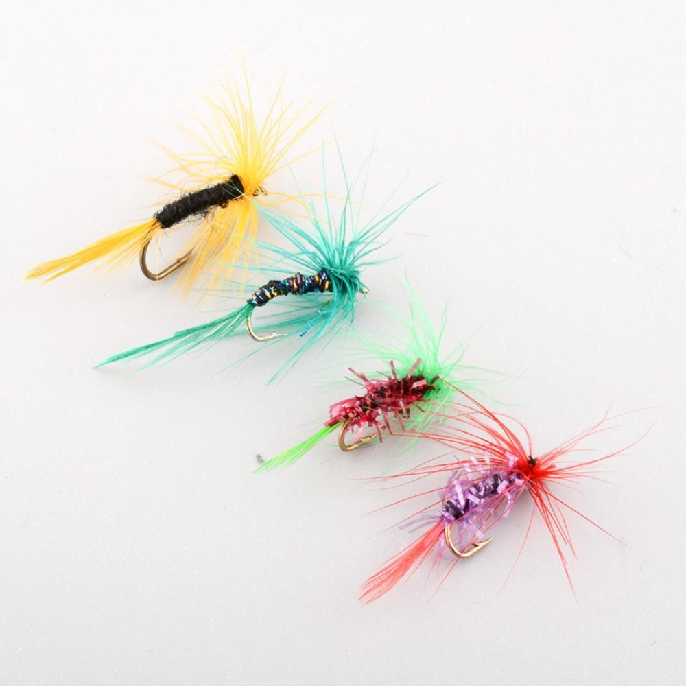 Set Of 4pcs Various Dry Fly Hooks Tool Fishing Trout Salmon Flies Fish Hook Lures Multicolor Useful NEW<br><br>Aliexpress