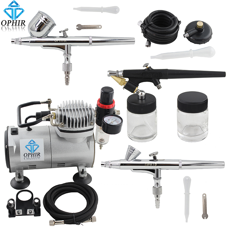 OPHIR Professional 3 Gun Airbrush Dual-Action & Single-Action Kits Air Compressor Hobby Set 110V,220V#AC089+004A+071+073
