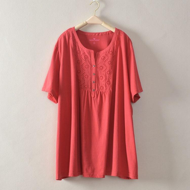 Free Shipping Cotton T Shirts Women Plus Size Short Sleeve