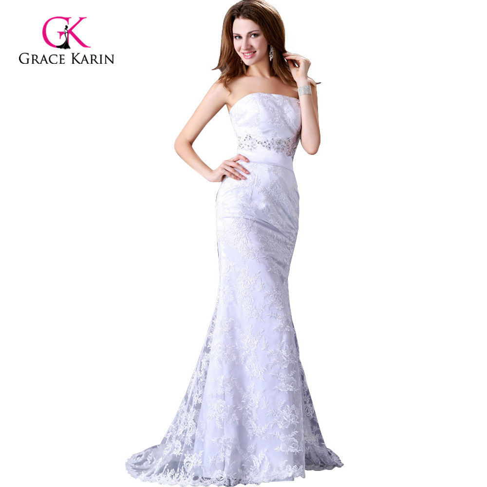 Grace karin elegant satin white strapless beach lace for Elegant satin wedding dresses