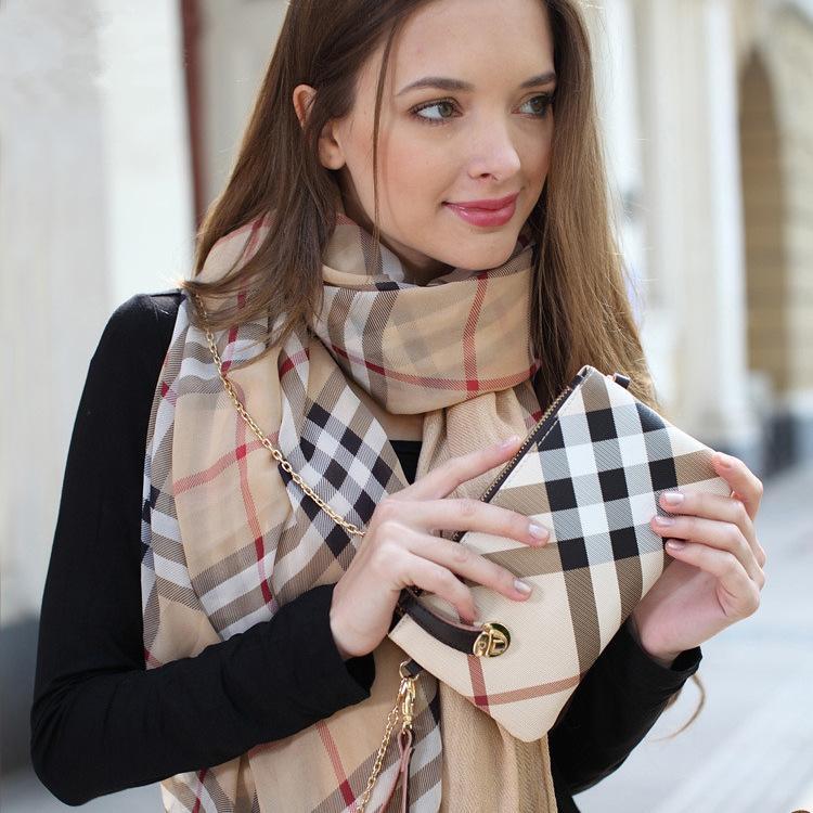 New England Style Top Brand Plaid Design Clutch Bag Women desigual Genuine leather Handles wallet Handbag Gift Shoulder Bags(China (Mainland))