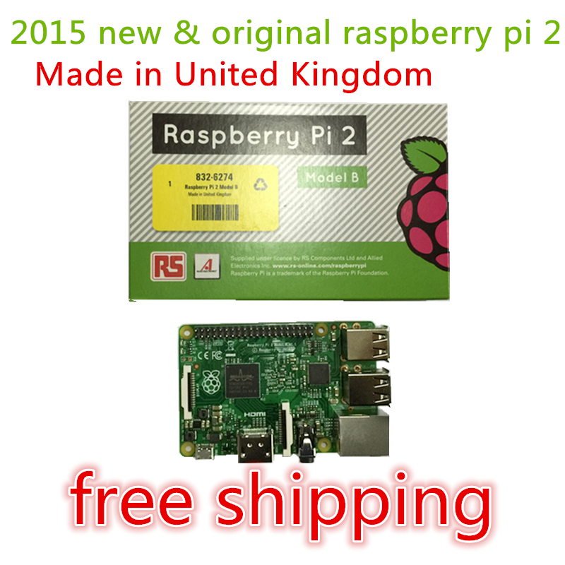 In stock MADE IN UK 2015 New Original Raspberry Pi 2 Model B Broadcom BCM2836 1G RAM(China (Mainland))