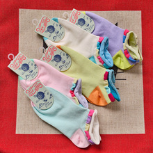 ZSMP Korea Cute Candy Colored Bubbles Boat  Hit Color Laciness Cotton Socks For Women Sock Slippers WZ04032