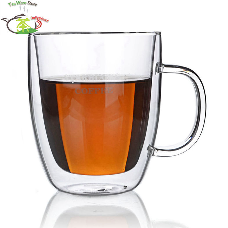 2 Pcs/lot 16fl.oz/475ml Heat-Resisting Double Wall Layer Glass Tea Wine Water Crystal Beer Drink Cups Mugs W/ Handle Classic A1(China (Mainland))
