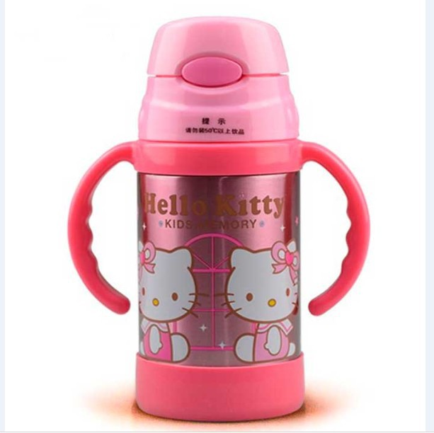 Hello Kitty 300ML Vacuum stainless steel water bottle cup kids thermos bottle children sport bottle water(China (Mainland))