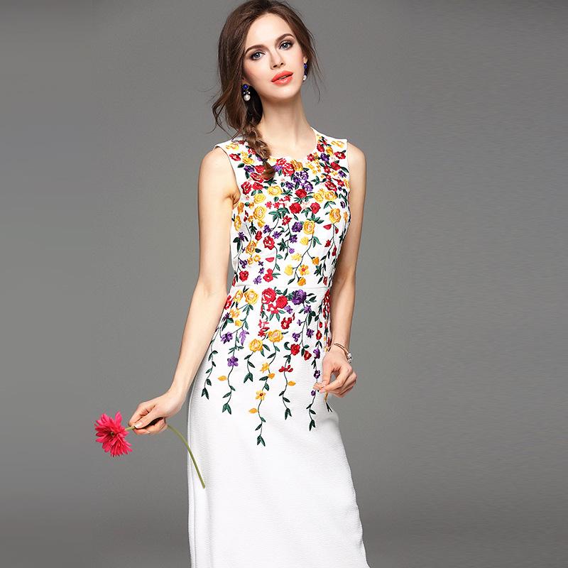New LUXURY floral embroidery appliques women long dress white black sleeveless elegant fashion dresses 2016 spring summer