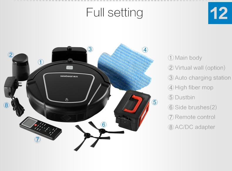 Eworld Mop Robot Vacuum Cleaner for Home Black lid HEPA Filter,Sensor,Remote control Self Charge ROBOT ASPIRADOR(China (Mainland))