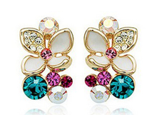 New enamel flower earrings fashion Floral Earrings Rhinestone beautiful angel alloy electroplating Stud earrings(China (Mainland))