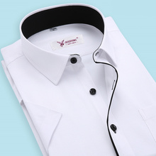 2015 Brand Men Shirt  Plus Size Slim Fit Striped Business Formal Shirt Short Sleeve Mens Dress Shirts Chemise Homme S-4XL