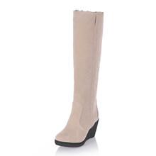KARINLUNA 2018 große größen 34-43 Mode Schnee Stiefel frau Warme Pelz Keil high Heel frauen Schuhe winter kniehohe Stiefel weibliche(China)