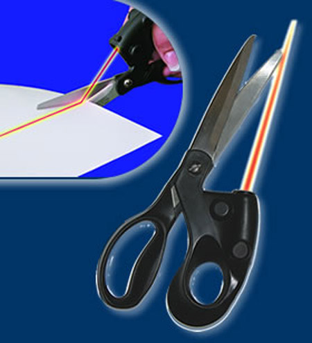 Laser scissors Sewing Cuts Cut out hot shears Laser Guided household scissors AY256-SZ(China (Mainland))