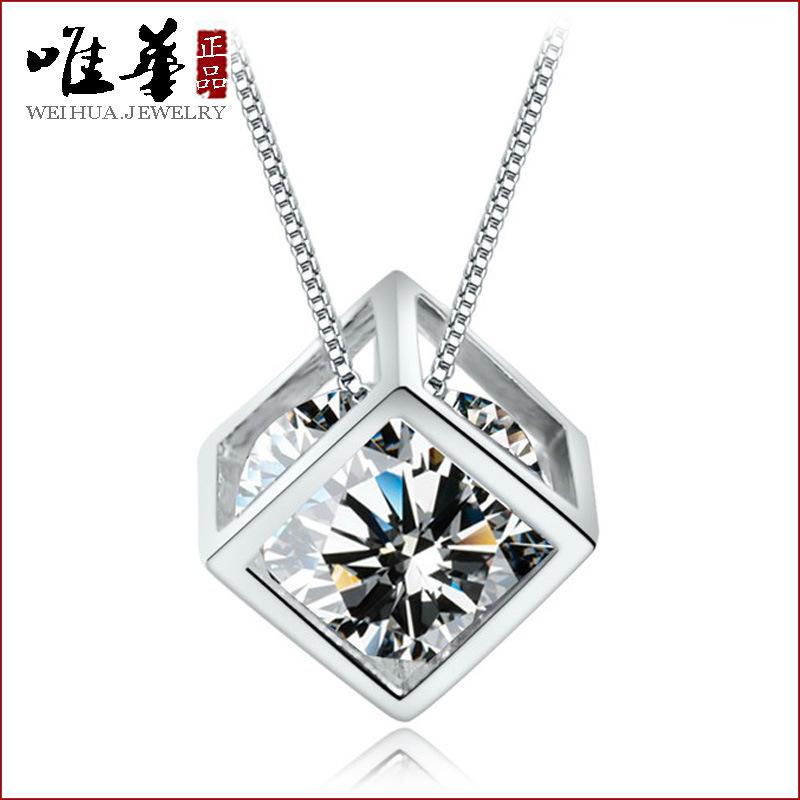Гаджет  925 Silver pendants Cube natural Zirconia necklace vintage jewelry fashion jewelry Charms None Ювелирные изделия и часы