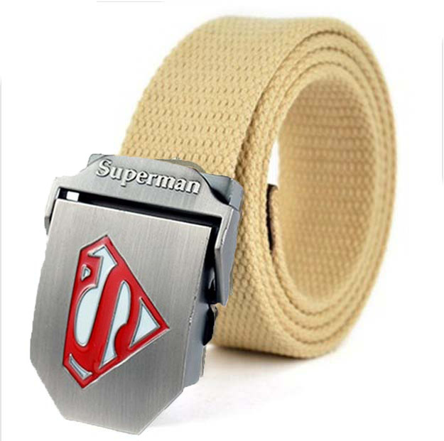 Military Fashion Stripe Style Canvas Belt with Superman Embossed Logo Buckle Boy's Kids Belt 24Colors 115cm Lenth Free Shipping(China (Mainland))