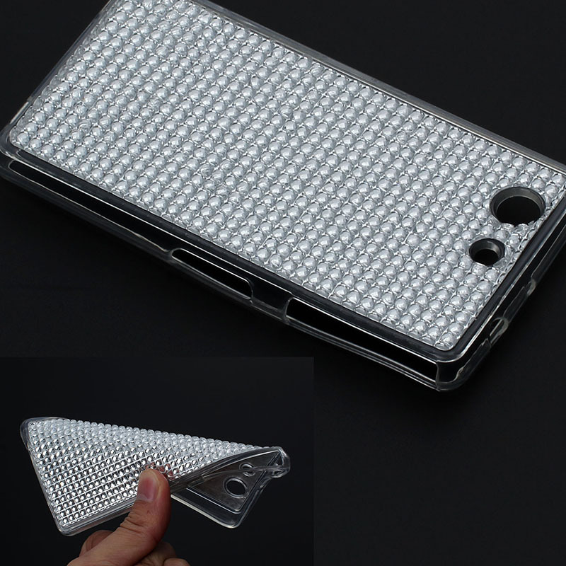 New fashion Shiny bling Soft round diamond brilliant Crystal protector skin TPU Case For Sony Xperia Z3 Compact Mini back cover(China (Mainland))