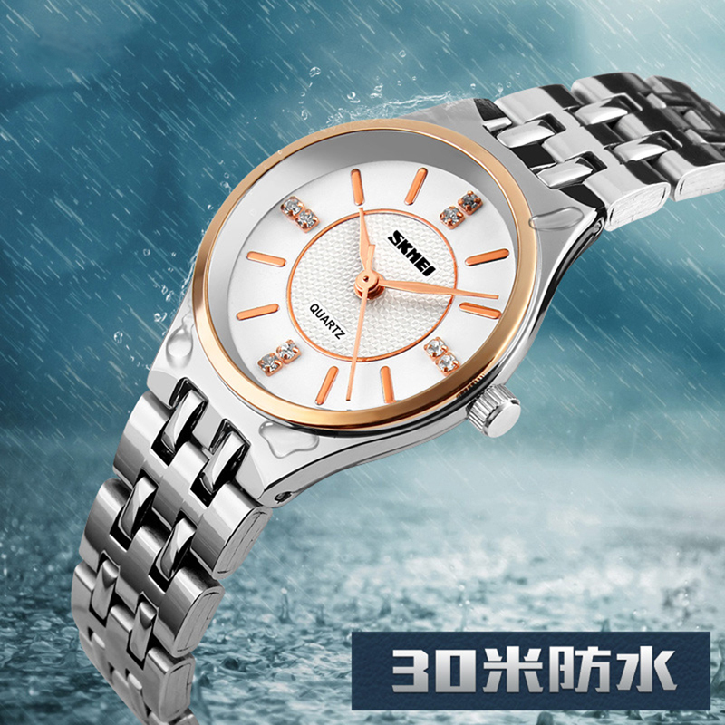 SKMEI Women Fashion Casual Quartz Watch Stainless Steel Waterproof Wristwatches Ladies Watches(China (Mainland))