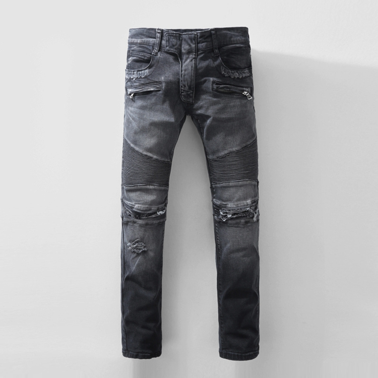 2016 new European and American retro Balm mens ripped jeans washing hole low-waist black men slim jeans gray size 28-40