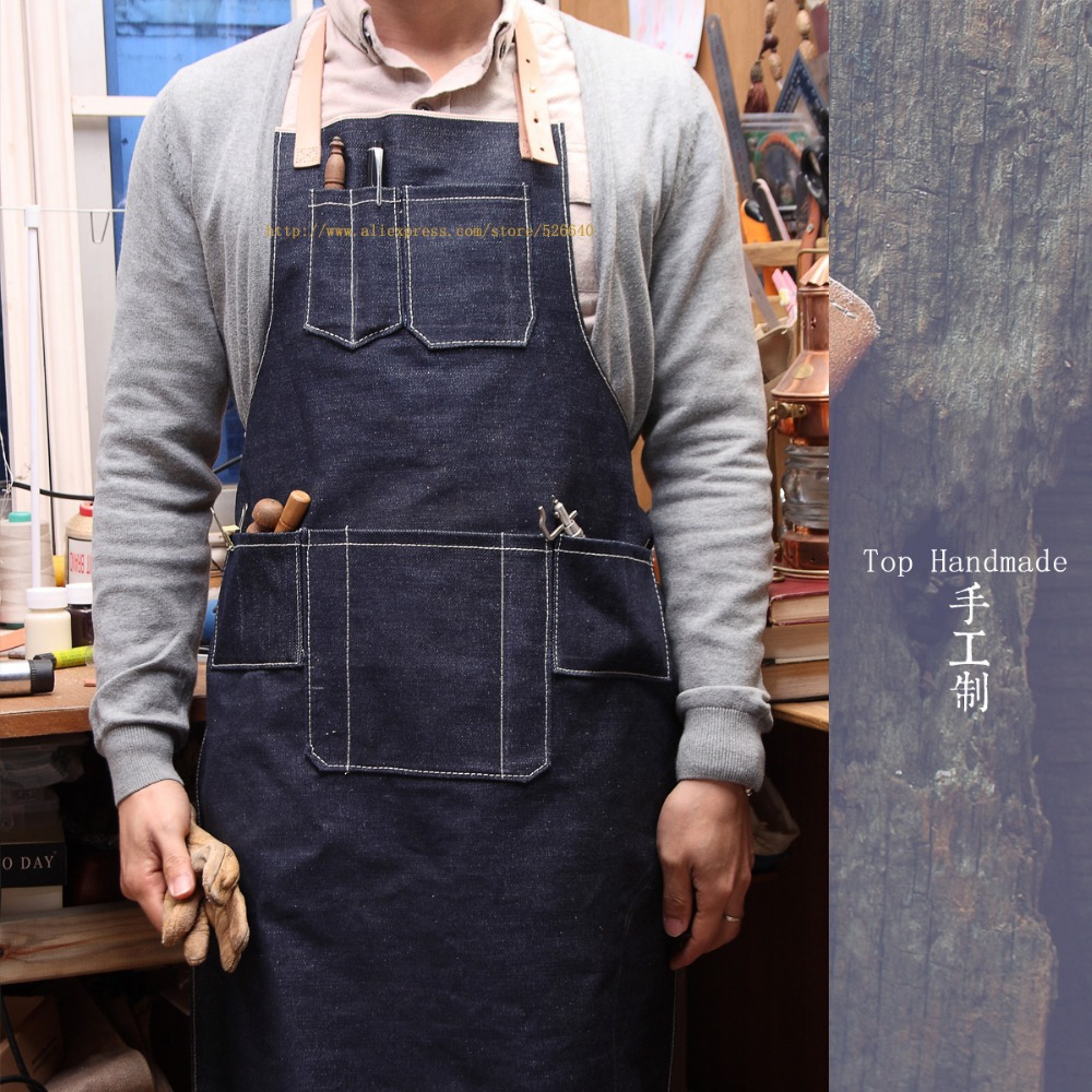 Wholesale Nail Salon Restaurant Kitchen Cooking Work Long Denim Apron For Woman Men LOGO Hairdressers Custom Leather Shop Aprons(China (Mainland))