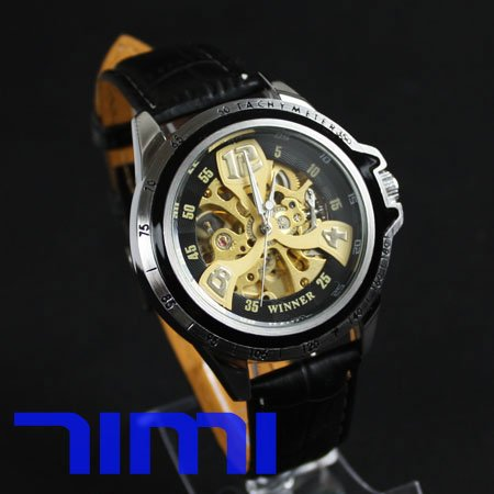wholesale Automatic Mens Mechanical Gold Skeleton CHRONO Watch<br><br>Aliexpress