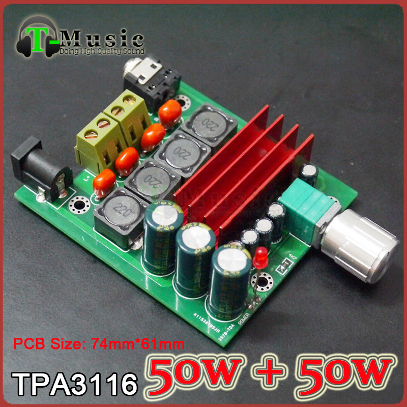 TPA3116 2.0 50W + 50W Digital power amplifier Completed board , Free shipping(China (Mainland))