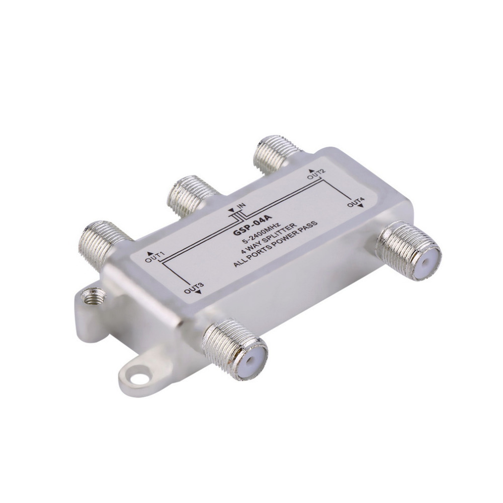 4 Way Satellite/Antenna/Cable TV Splitter Distributor 5-2400MHz F Type Wholesale(China (Mainland))