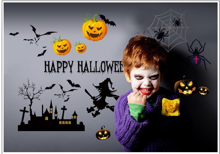Free shipping Removable pvc Halloween home decals hot DIY Happy Halloween Party Decorations decor sticker for kids(China (Mainland))
