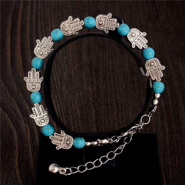 Сладкий чехия стильный блестящий ручной форма бирюзовый бусины очаровательный браслет ...