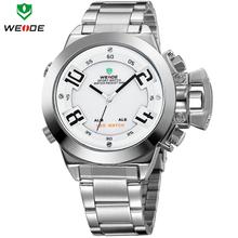 2014 más reciente marca de lujo WEIDE Mens relojes de cuarzo analógico reloj militar LED Digital Alarm fecha día acero inoxidable reloj deportivo