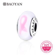 BAOYAN DIY Шарм Стерлингового Серебра 925 Pink Ribbon Европейские Стеклянные Бусины Murano Подвески Fit для Браслетов Аксессуары N5(China (Mainland))