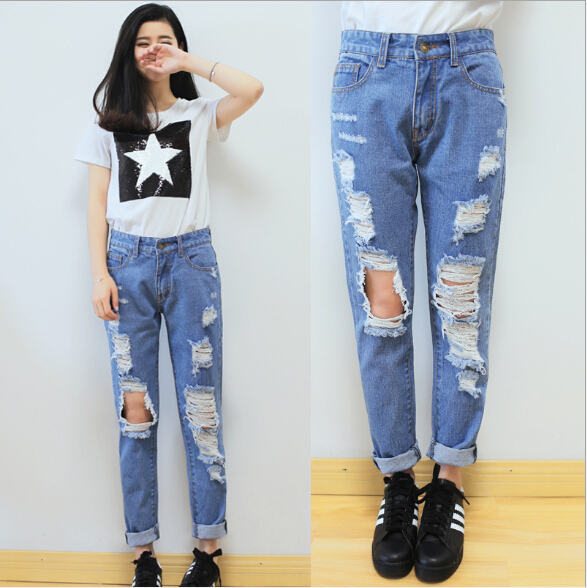 Free Shipping New Design Jeans Personality Hole And Patchwork Ripped Jeans Loose High Waist ...