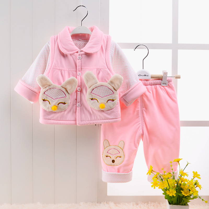 Baby clothes thickened suit three pieces cotton padded clothes in spring and autumn of newborn baby girl 0-1-2 years old clothes<br><br>Aliexpress